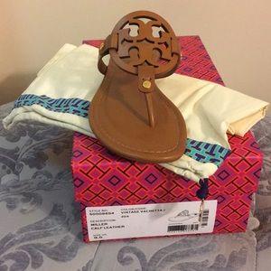 Tory Burch Miller Sandals Brown Vintage Vachetta